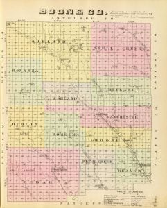 1885 Map of Boone County Nebraska