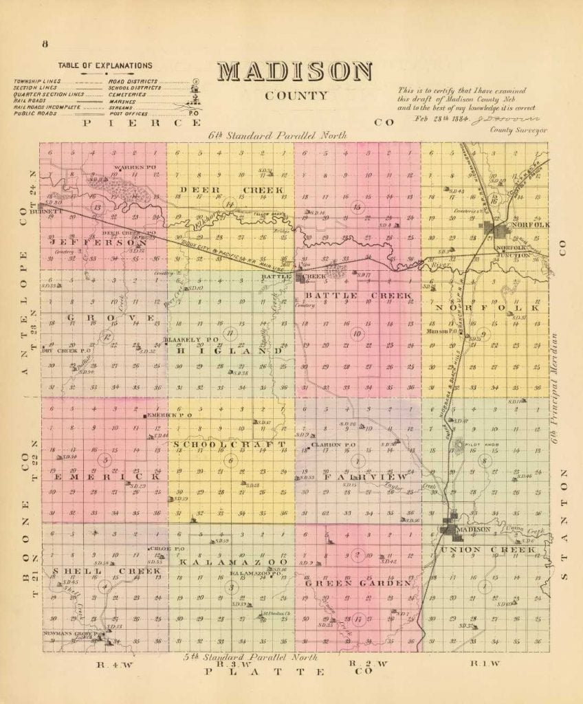 1885 Map of Madison County Nebraska