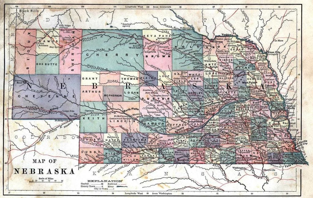 1887 Nebraska Map from Harper's Common Geography